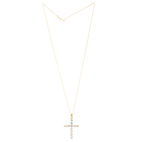 ELANZA AAA Simulated Diamond (Rnd) Cross Pendant with Chain in Yellow Gold Overlay Sterling Silver