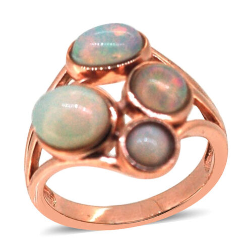 Ethiopian Welo Opal (Ovl 1.00 Ct) Ring in Rose Gold Overlay Sterling Silver 2.540 Ct.