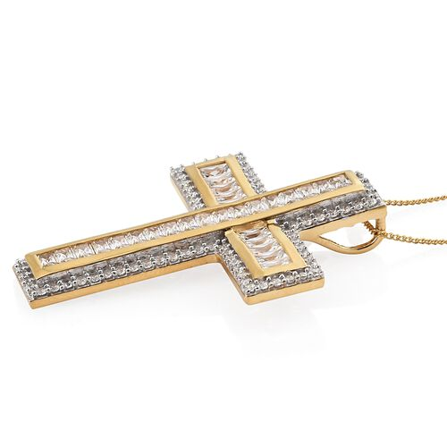 J Francis - 14K Gold Overlay Sterling Silver (Rnd and Bgt) Cross Pendant with Chain Made with SWAROVSKI ZIRCONIA, Silver wt 7.01 Gms. Number of Swarvoski 117.