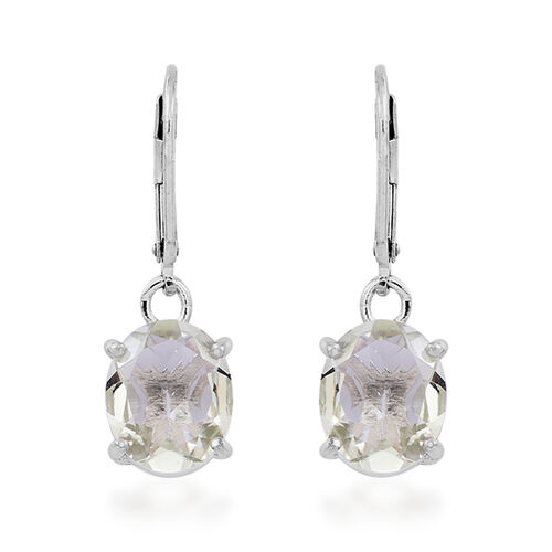 Green Amethyst (Ovl) Lever Back Earrings in Rhodium Plated Sterling Silver 5.000 Ct.