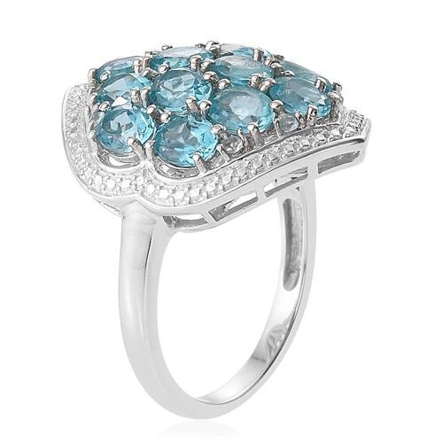 Paraiba Apatite (Ovl) Cluster Ring in Platinum Overlay Sterling Silver 5.000 Ct.