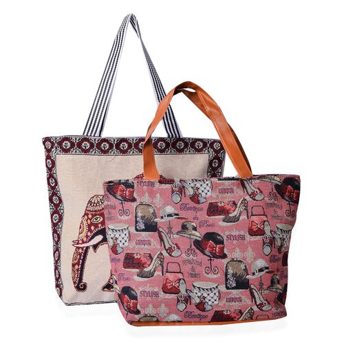 Set of 2 - Cream Multi Colour Elephant Pattern Large (Size 43x39x10.5 Cm) and Multi Colour Hats and High Heeled Shoe Pattern Pink Small Handbag with External Zipper Pocket (Size 43x33x11.5 Cm)