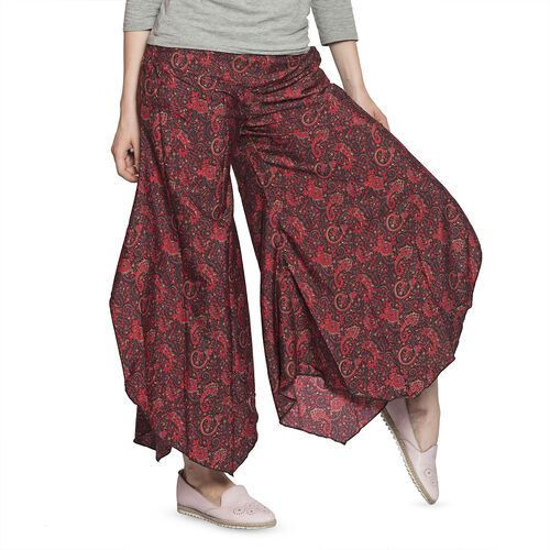 Red and Black Colour Ethnic Pattern Palazzo Trouser (Medium Size)