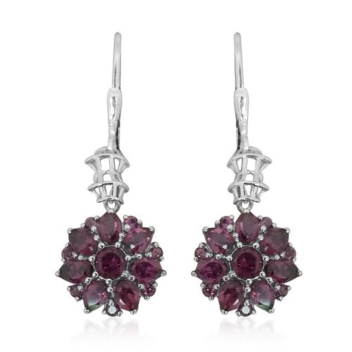 Designer Inspired - AAA Rhodolite Garnet (Rnd) Earrings in Platinum Overlay Sterling Silver 4.00 Ct.