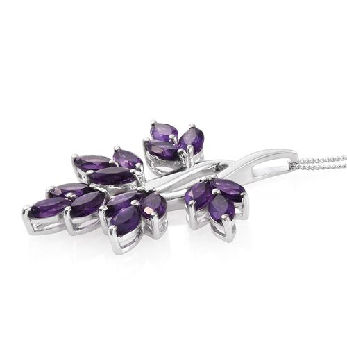 Lusaka Amethyst (Mrq) Leaves Pendant With Chain in Platinum Overlay Sterling Silver 4.750 Ct.