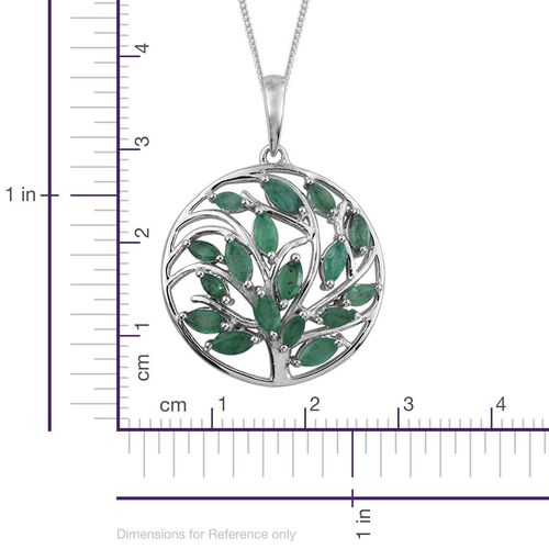 Kagem Zambian Emerald (Mrq) Tree of Life Pendant With Chain in Platinum Overlay Sterling Silver 1.750 Ct.