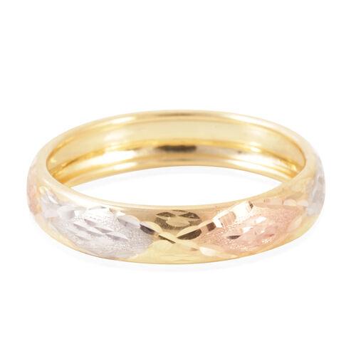 Royal Bali Collection 9K Gold Tri Colour Diamond Cut Band Ring.
