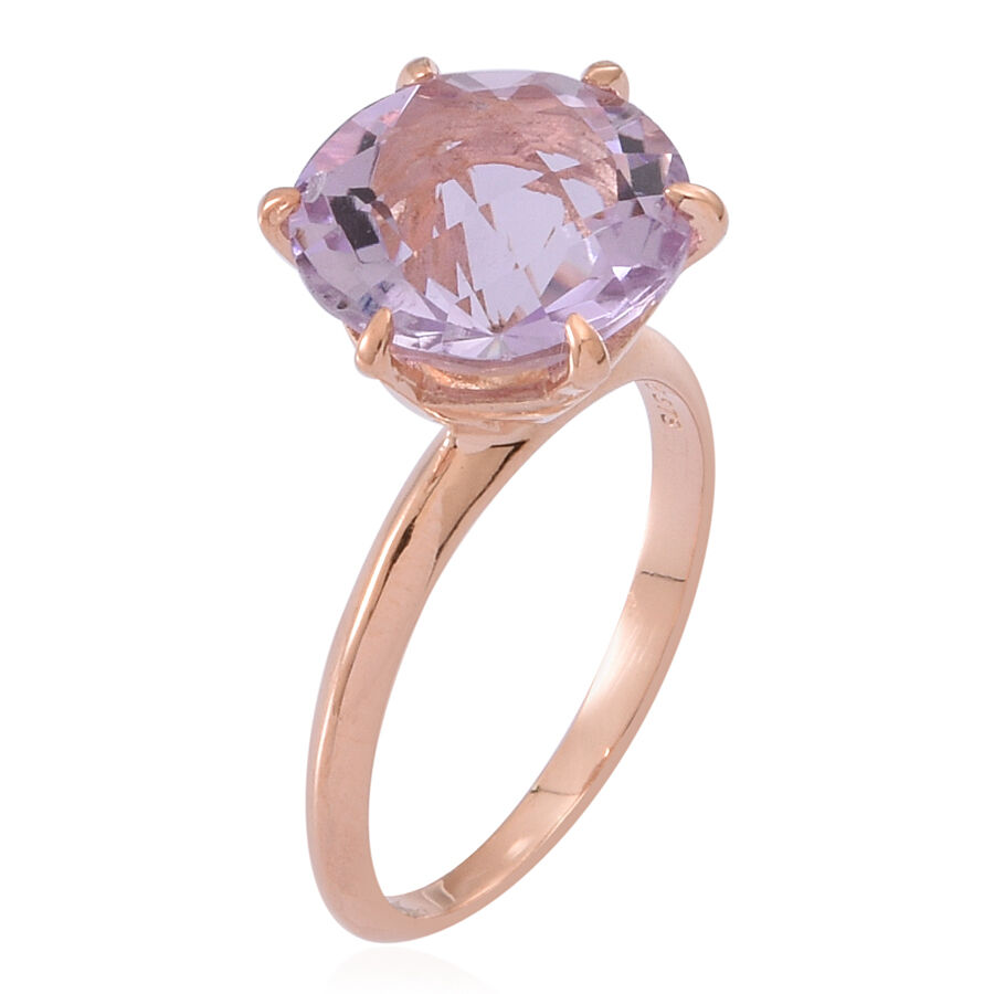 Rose De France Amethyst Rnd Solitaire Ring In 14k Rose