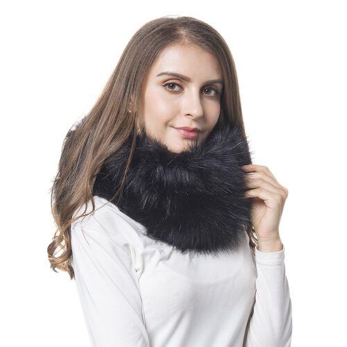 Black Colour Faux Fur Snood (Size 38x16 Cm)