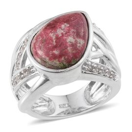 Norwegian Thulite (Pear 9.50 Ct), White Topaz Ring in Platinum Overlay Sterling Silver 10.000 Ct. Silver wt 8.98 Gms.
