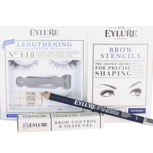 Day Eye Kit, Lengthening Lashes 118, Brow Stencils, Brow Gel, Brow Pencil Blonde