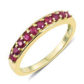 0.75 Ct AA Burmese Ruby Half Eternity Ring in 9K Gold