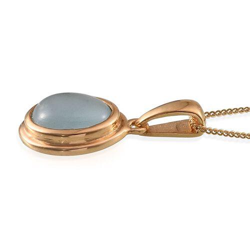 Espirito Santo Aquamarine (Ovl) Solitaire Pendant With Chain in 14K Gold Overlay Sterling Silver 2.250 Ct.