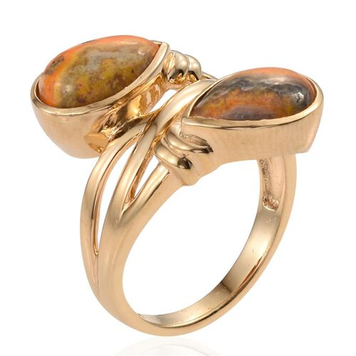 Bumble Bee Jasper (Pear) Crossover Ring in 14K Gold Overlay Sterling Silver 5.500 Ct.