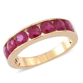 ILIANA 18K Y Gold AAAA Burmese Ruby (Rnd) 7 Stone Band Ring 2.500 Ct. Gold Wt 5.10 Gms