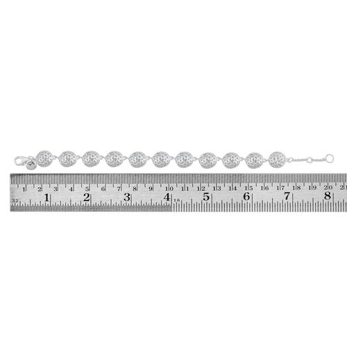 RACHEL GALLEY Rhodium Plated Sterling Silver Memento Disc Bracelet (Size 8), Silver wt 14.00 Gms.