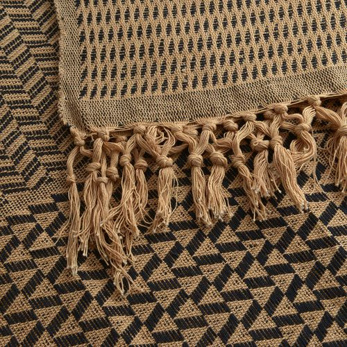 100% Cotton Black and Cream Colour Handloom Bedcover with Fringes at the Bottom (Size 280x225 Cm)
