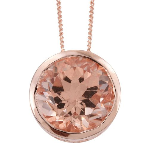 Galileia Blush Pink Quartz (Rnd) Solitaire Pendant With Chain in Rose Gold Overlay Sterling Silver 5.500 Ct.