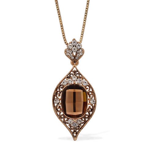 Brown Glass and White Austrian Crystal Pendant with Chain (Size 18) and Earrings in Gold Tone
