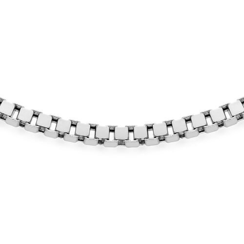 JCK Vegas Collection Silver Box Necklace with Rhodium Plating (Size 20), Silver wt 80.00 Gms.