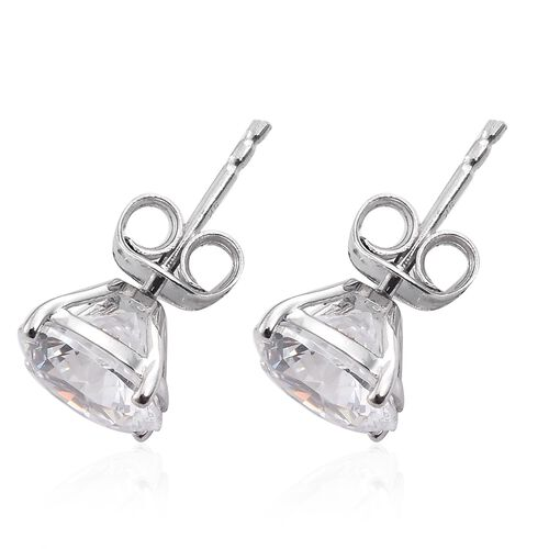 J Francis - 9K White Gold (Rnd) Stud Earrings (with Push Back) Made with SWAROVSKI ZIRCONIA