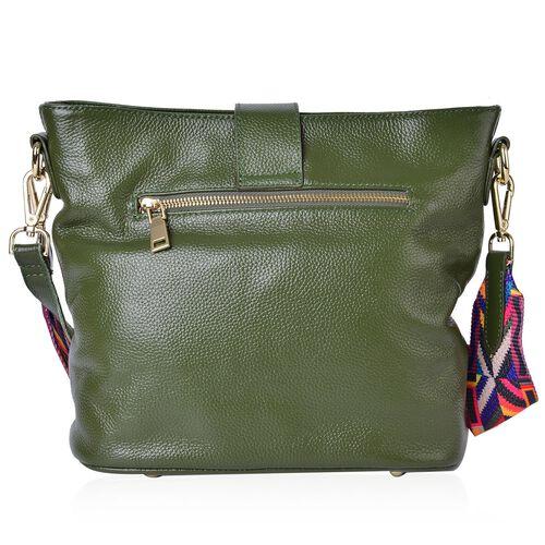 Genuine Leather Green Colour Shoulder Bag (Size 29x26x23x13 Cm) with External Zipper Pocket and Multi Colour Removable Shoulder Strap