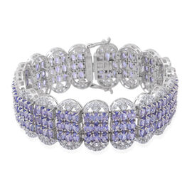 Designer Inspired - Limited Edition - AA Tanzanite (Ovl), Natural Cambodian White Zircon Cocktail Bracelet (Size 7.25) in Rhodium Plated Sterling Silver 40.000 Ct.