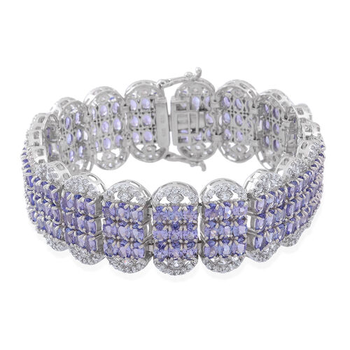 Designer Inspired - Limited Edition - AA Tanzanite (Ovl), Natural White Cambodian Zircon Cocktail Bracelet (Size 7.25) in Rhodium Plated Sterling Silver 40.000 Ct. Number of Gemstones 475