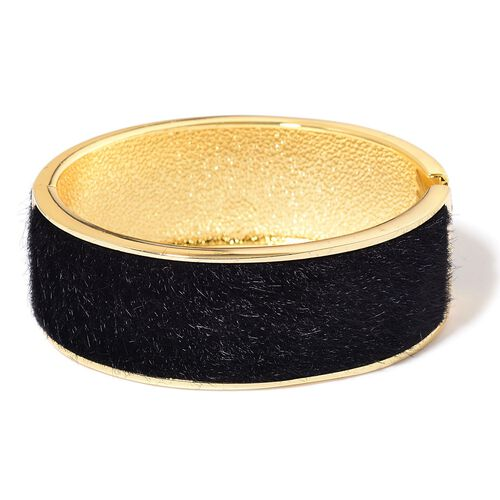 Faux Fur Bangle (Size 7) in Yellow Gold Tone
