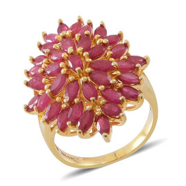 African Ruby (Mrq) Floral Ring in 14K Gold Overlay Sterling Silver 4.500 Ct.
