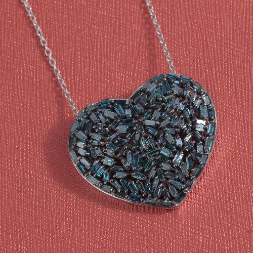 GP Blue Diamond (Bgt), Kanchanaburi Blue Sapphire Heart Pendant with Chain in Platinum and Black Rhodium Overlay Sterling Silver 1.020 Ct. Number of Diamonds 128
