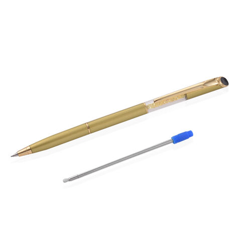 Christmas Gift Idea - Faceted Yellow Sapphire Round 3 Cts Pen with a Extra Refill