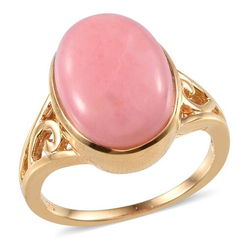 Peruvian Pink Opal (Ovl) Solitaire Ring in 14K Gold Overlay Sterling Silver 7.000 Ct.