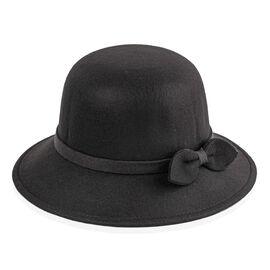 Black Colour Bowknot Adorned Hat (Size 16 Cm)