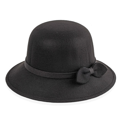Black Colour Bowknot Adorned Hat (Size 16 Cm)