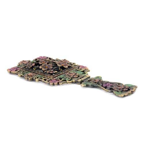 (Option 1) Multi Colour Enameled Floral Pattern Foldable Compact Mirror in Gold Tone with Simulated Stone