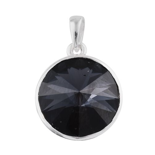 J Francis Crystal from Swarovski - Graphite Colour Crystal (Rnd) Solitaire Pendant in Sterling Silver