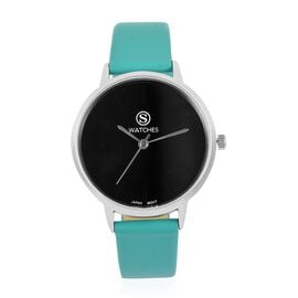 STRADA Japanese Movement Black Dial Water Resistant Watch in Silver Tone with Aqua Green Strap