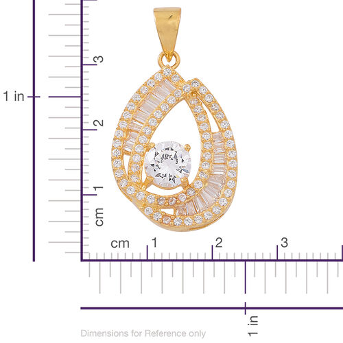 Signature Collection-ELANZA AAA Simulated Diamond (Rnd) Pendant in 14K Gold Overlay Sterling Silver