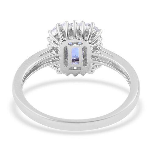 ILIANA 18K White Gold AAA Tanzanite (Oct 1.00 Ct), Diamond Ring 1.550 Ct.
