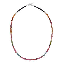 Tucson Collection - Close Out Deal - Rainbow Tourmaline (Rnd) Necklace (Size 20 with Extender) in Rhodium Plated Sterling Silver 50.000 Ct.