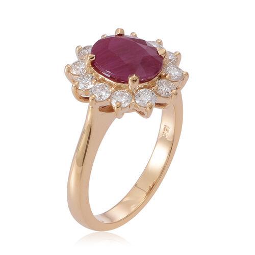 ILIANA 18K Y Gold Rare Size AAAA Burmese Ruby (Ovl 3.00 Ct), Diamond Ring 4.000 Ct.
