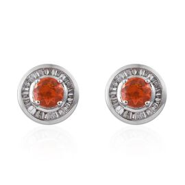 RHAPSODY 950 Platinum 1.25 Carat AAAA Jalisco Fire Opal (Rnd), Diamond (VS/E-F) Stud Earrings (with Screw Back)