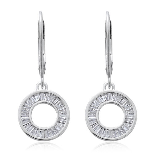 9K W Gold SGL Certified Diamond (Bgt) (I3/G-H) Lever Back Earrings 0.500 Ct.