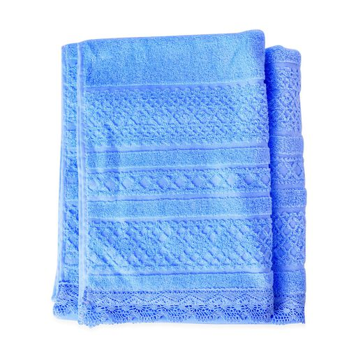 100% Cotton Set of 2 - Light Blue Colour Towel with Low Twist Jacquard Border and Lace Large (Size 140x65 Cm) and Small (Size 70x50 Cm)