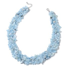 One Time Deal-Espirito Santo Aquamarine Chips Necklace (Size 18 with 2 inch Extender) in Rhodium Plated Sterling Silver 701.500 Ct.