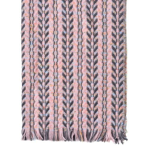 Designer Inspired Pink, Grey and Multi Colour Leaf Pattern Knitted Blanket Shawl with Fringes (Size 185X60 Cm)