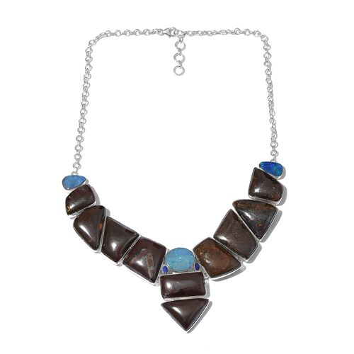 Boulder Opal Rock and Opal Double Necklace (Size 18 with 1 inch Extender) in Sterling Silver 309.200 Ct.