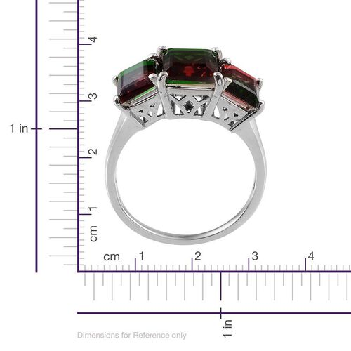 Tourmaline Colour Quartz (Bgt 3.50 Ct) 3 Stone Ring in Platinum Overlay Sterling Silver 7.250 Ct.