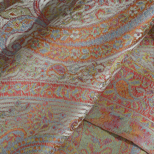SILK MARK - 100% Superfine Silk Cream, Pink and Multi Colour Paisley Pattern Jacquard Jamawar Scarf with Tassels (Size 180X70 Cm) (Weight 125 to 140 Gms)